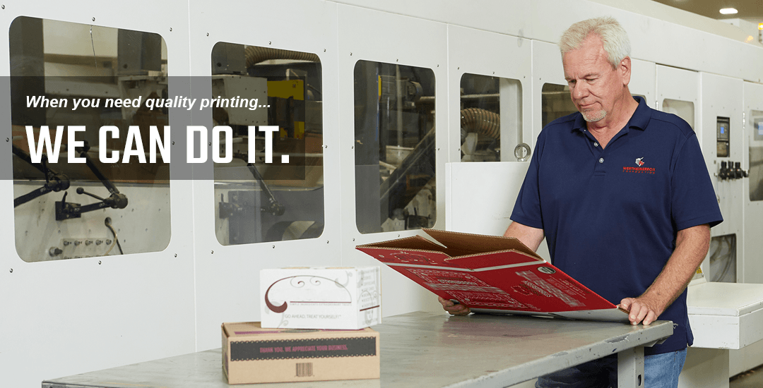 quality supervisor examines custom printing on corrugated box